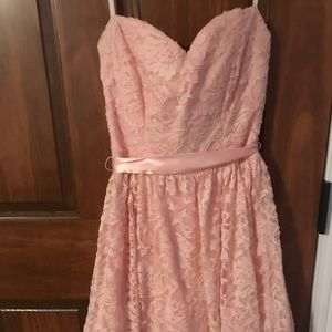 3/15💓Lace Pink strapless homecoming/dance dress